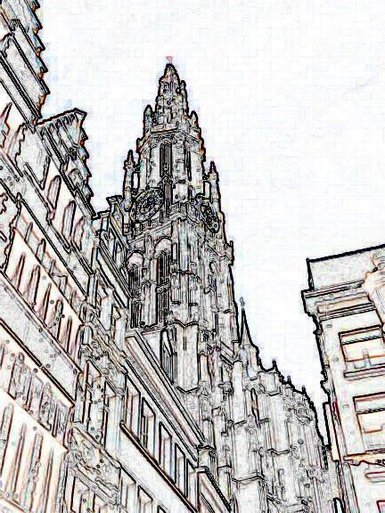 Cathedral in Antwerp 4 D